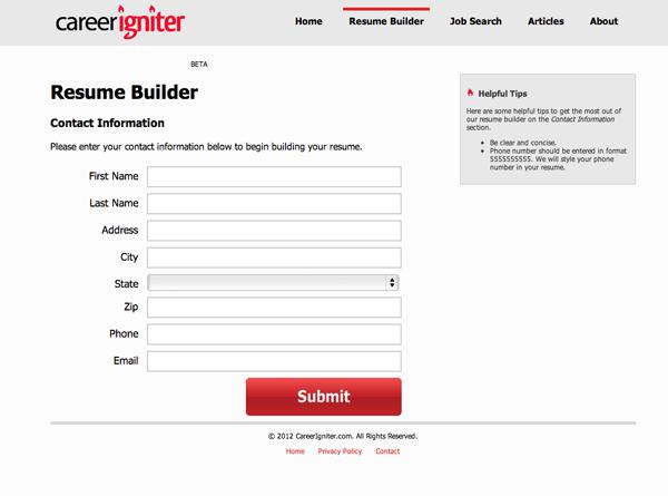 Career Igniter Free Resume Builder