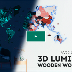 Illuminate your space with the First 3D Luminous Colored Wooden World Map